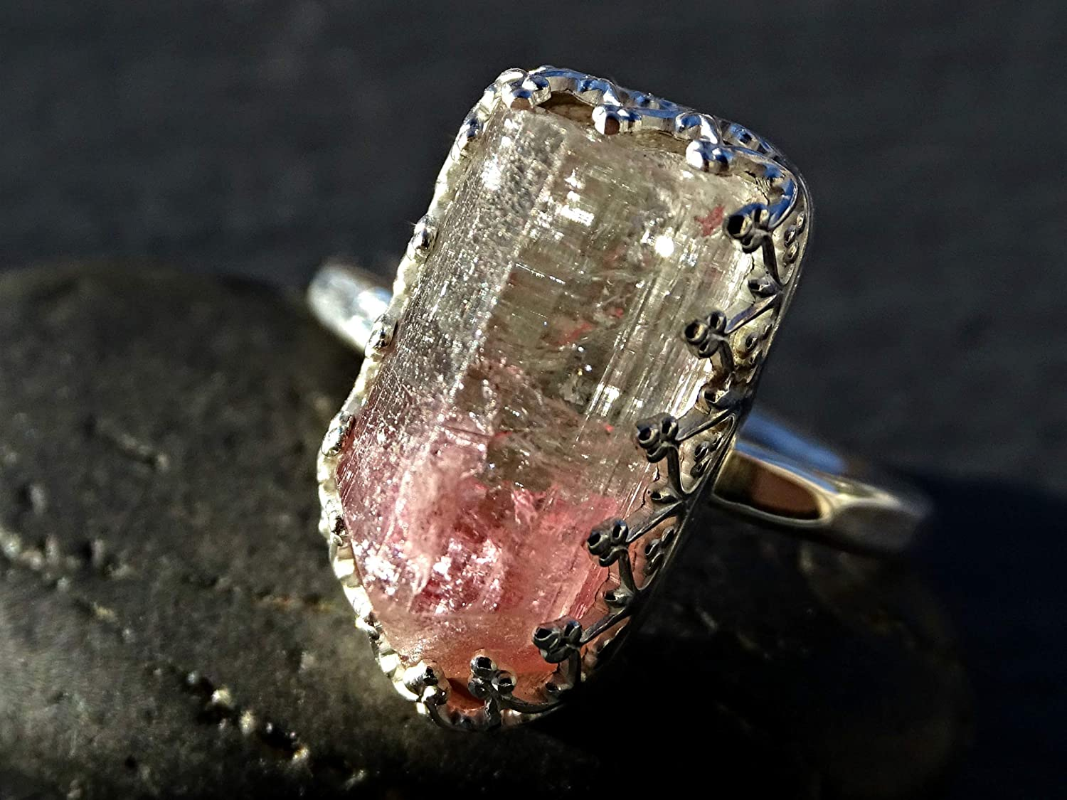Silver Ring Dainty Ring Coffin Watermelon Tourmaline Quartz Ring in 925 Sterling Silver Jewelry Gemstone Ring Boho Ring Silver Ring