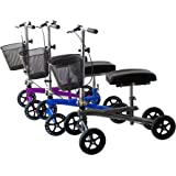 Isokinetics Inc. Steerable Knee Walker/Scooter - Silver - Deluxe - w/Most Sought Features---a Removable Basket, Non-Scuff Wheels, Locking Brakes---and one just for fun---a Bell