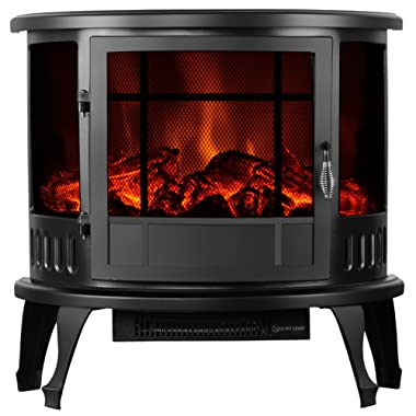 KUPPET 23  Standing Electric Fireplace Space Heater in Rooms Stove Realistic Flame, Vintage Style, Knob Control,Adjustable Temperature & Brightness, 1500W, Black