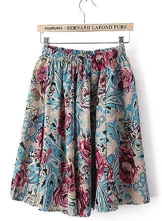 262bc52e33 Azue Bohemian Flared High Waist Summer Floral Casual Midi Swing Skirt  Knee-Length Half Dress