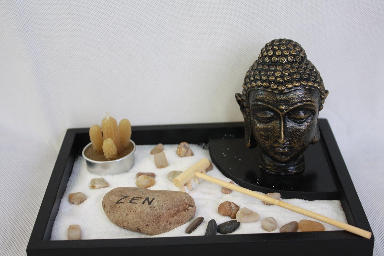 Jardin Zen Figura Buda Durmiendo  con Vela y  Inciensio en bandeja,con portavela