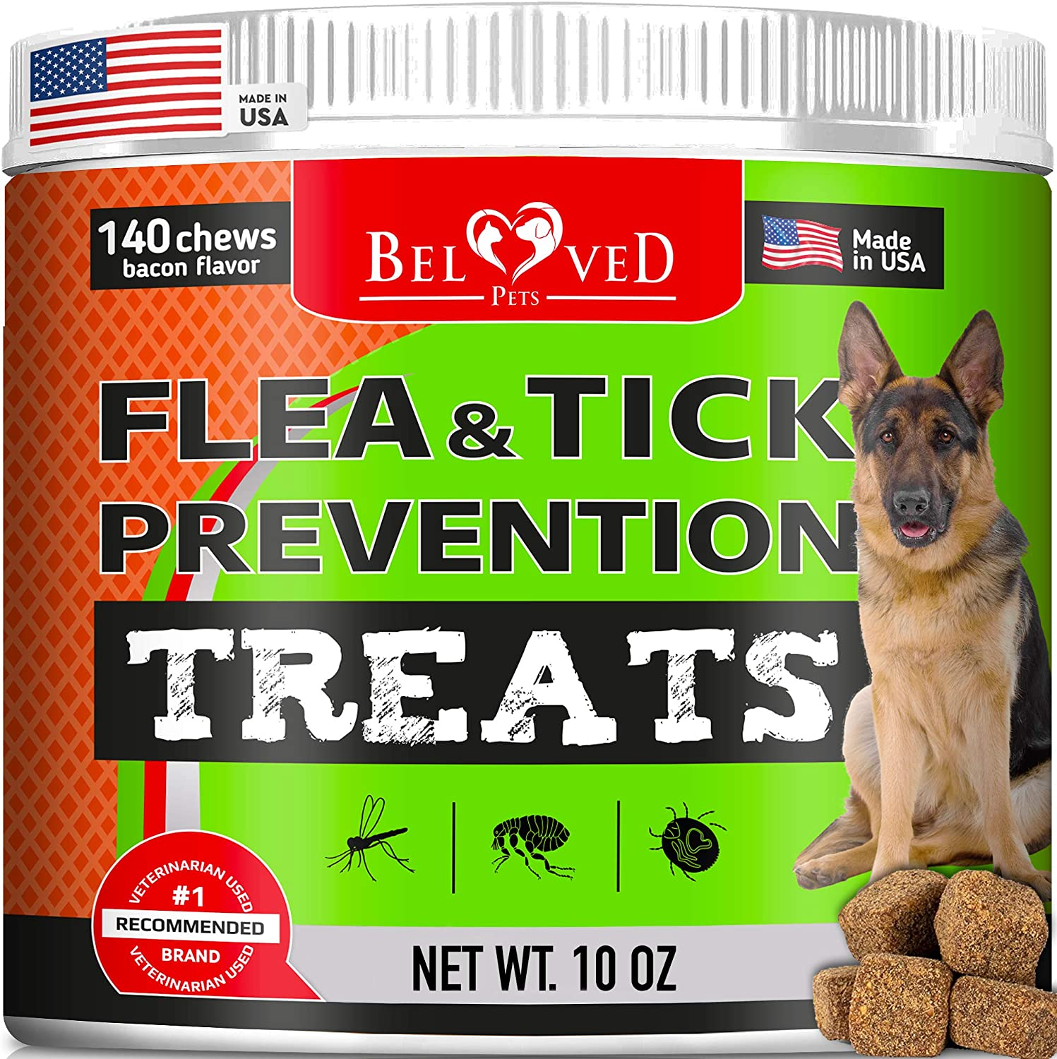 Beloved Pets Flea and Tick Control Treats for Dogs - Flea Prevention Soft Chews - Natural Tick Repellent Supplement - Made in USA - 140 Ct Bacon Flavor
