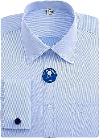 J.VER Hombres Doble Manguito Negocios Camisas de Vestir Formales con Gemelos de Metal Ajuste Regular Manga Larga: Amazon.es: Ropa y accesorios