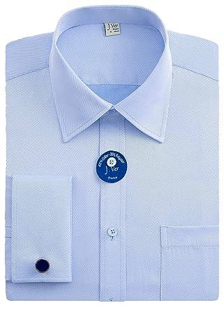 9edf6c4055f J.VER Men s French Cuff Dress Shirts Regular Fit Long Sleeve Spead Collar  Metal Cufflink