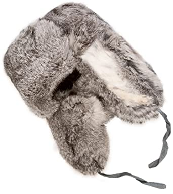 Rabbit fur ushanka winter hat Gray at Amazon Men s Clothing store  a0f61a4292b