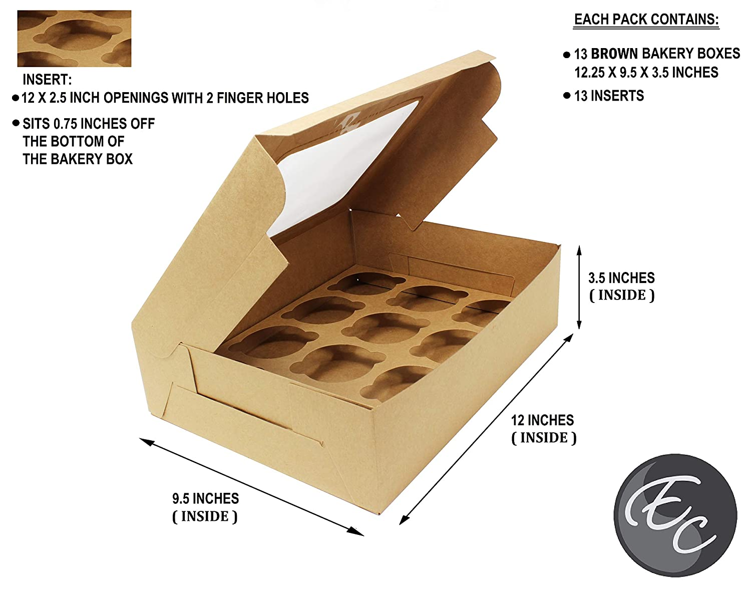 Muffins Take Out Box Containers Premium Pale Blue Bakery Boxes with Windows and Inserts for 12 Cupcakes Baked Goods Pastries Ideal for Bakers 12.25 x 9.5 x 3.5 Inches Set of 13 Cardboard Boxes