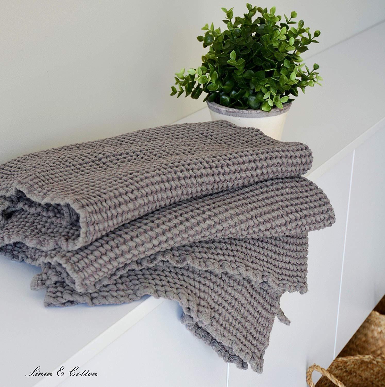 Linen /& Cotton 52/% Cotone Doccia Asciugamano in Bianco 48/% Lino 20 x 28 50 x 70cm