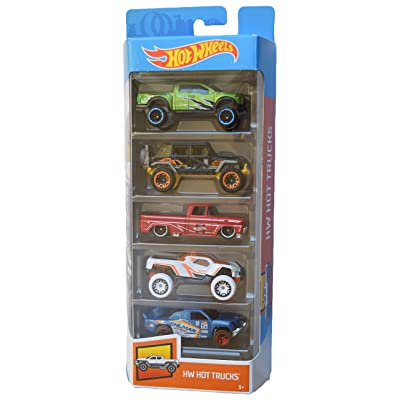 Hot Wheels 5 Pack Hot Trucks with Rare Black Jeep Wrangler, Green Ford Raptor f-150: Toys & Games