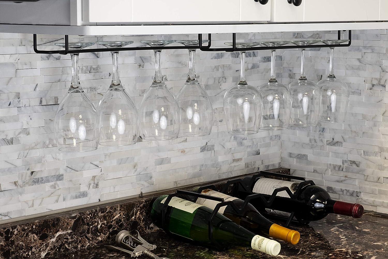 Wallniture Brix Large Stemware Wine Glass Hanger Rack Under Cabinet Kitchen Bar Storage Black Iron 17 Inch Set of 2