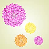 """Dahlia or Zinnia Stencil - (size 3.25""""w x 3.25""""h) Reusable Wall Stencils for Painting - Best Quality Zinnia Grande Flower Ideas - Use on Walls, Floors, Fabrics, Glass, Wood, and More…"""