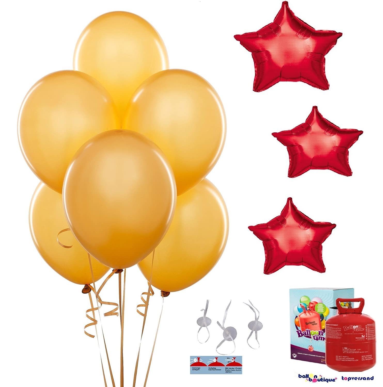 Helium Balloon Gas Set of 3 Star Cluster 10 Latex Balloons Red gold, 10, 1 quick release Bottle 0,25 L