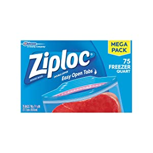 Ziploc Freezer Bags, Quart, 75 ct