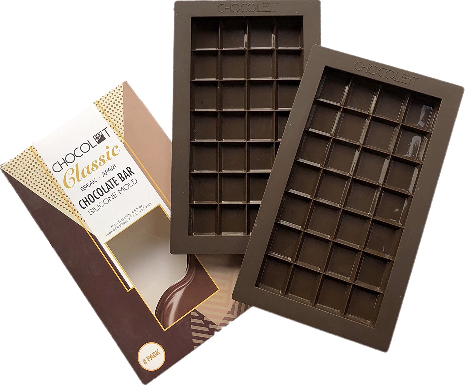 CHOCOLOT Classic 2 Silicone Break-Apart Chocolate Bar Molds, LFGB Grade Silicone, BPA Free, Oven Safe - 6.6 Fluid Ounce Capacity (2-Pack)