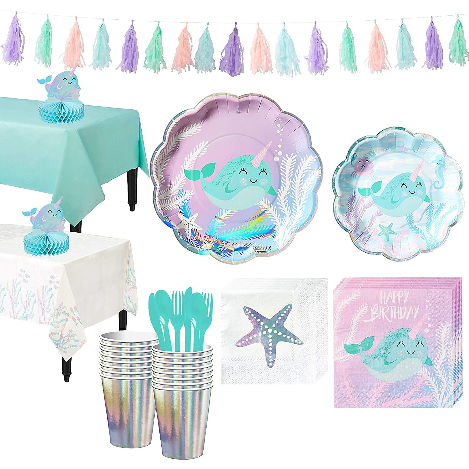 Party City Narwhal Tableware Party Kit For 16 Guests Includes Plates Napkins Table Cover And Decorations