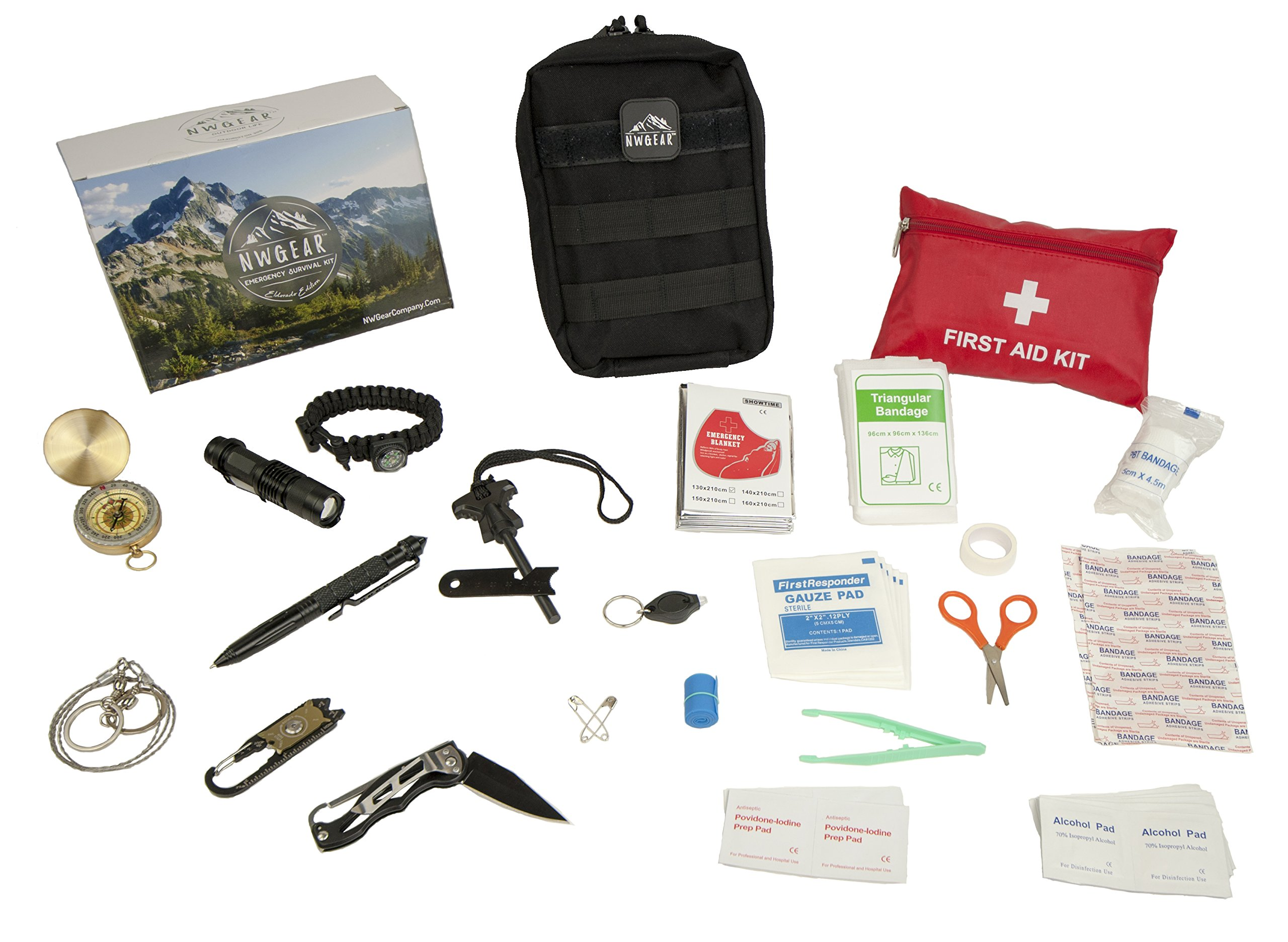 NWGear 75 in 1 Emergency Survival Kit with First Aid Kit for Car | Emergency Blanket & Flashlight | Rugged Water-Resistant Molle Pouch | and More Survival Gear