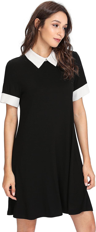 Floerns Women's Peter Pan Collar Short Sleeve Short Tunic Dress