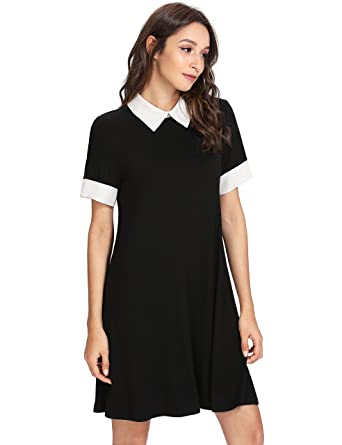 f5b9b45370b8 Floerns Women's Casual Swing Tshirt Dress Flowy Simple Contrast Collar  Dresses Black XS
