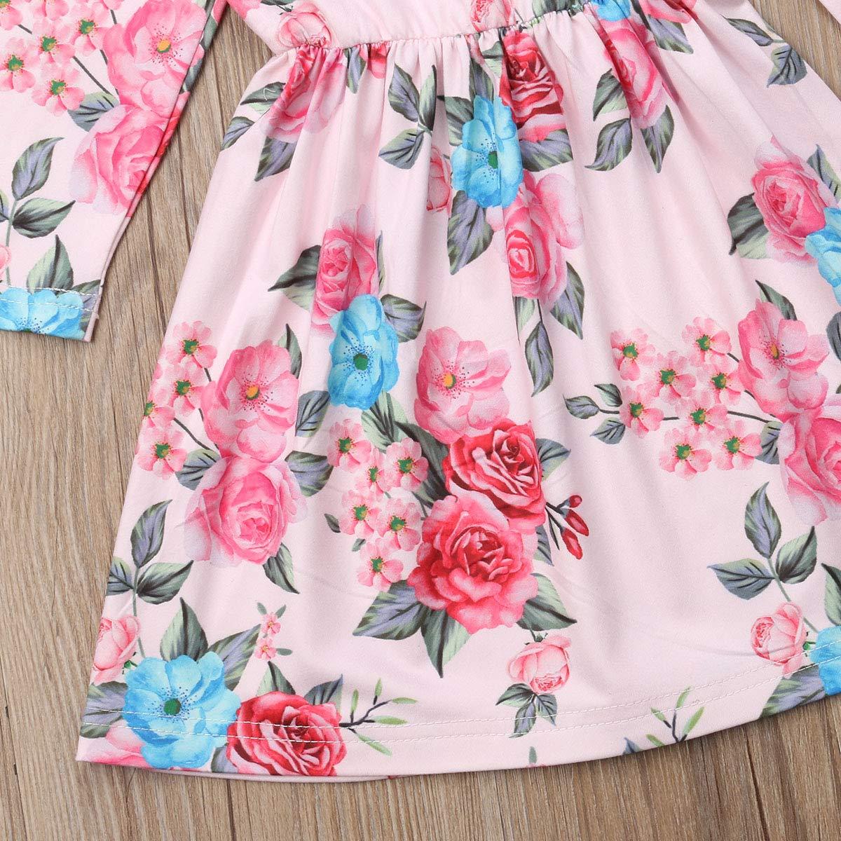 Cheeulish Toddler Baby Girl Infant Kids Fall Winter Flower Ruffle Long Sleeve Casual Dress
