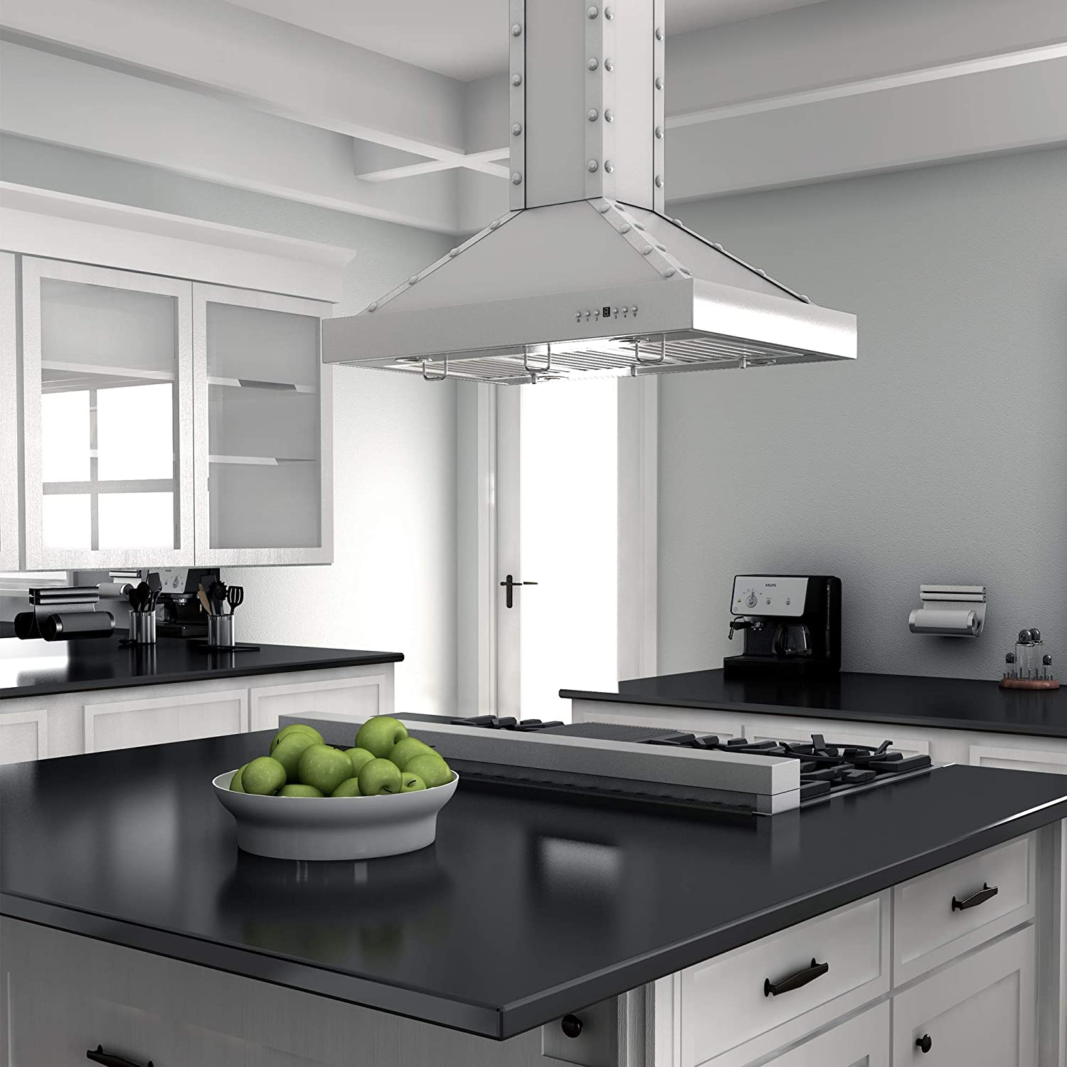 Porcelain Rangetop in Snow Stainless with 7 Gas Burners RTS-48 ZLINE 48 in