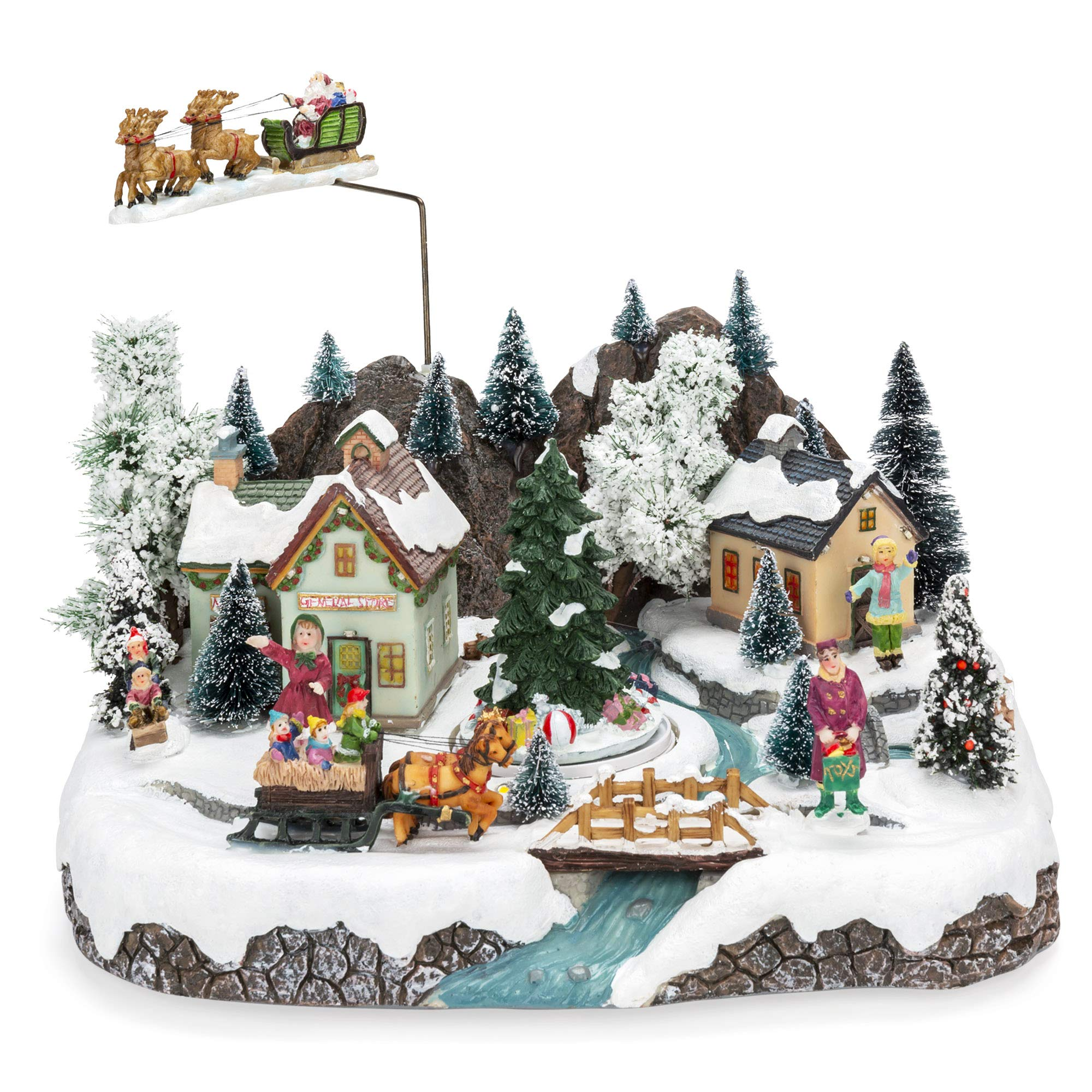 Best Choice Products Animated Musical Pre-Lit Tabletop Christmas Village w/Rotating Tree, Santa's Sleigh and Reindeer by Best Choice Products