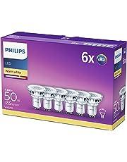 Philips Bombillas LED GU10 Cristal, 4.6 W equivalentes a 50 W en incandescencia, 355 Lúmenes, luz blanca cálida, pack de 6