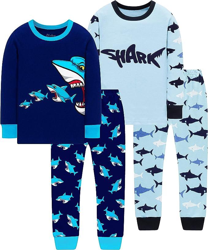 shelry Pajamas for Boys Kids Rocket Christmas Sleepwear Baby Girls Clothes 4 Pieces Pants Set