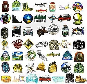 Mizzuco Vinyl Stickers Waterproof Adventure Stickers 66 Pieces for Laptop Bumper Helmet Ipad Car Luggage Water Bottle (HW223)