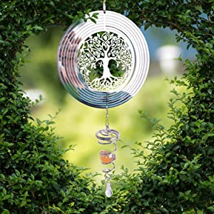 Tree of Life Wind Spinner -with Wind Spinner Stabilizer, Gazing Ball - Outdoor Porch Decorations - Garden Accessories -Outdoor Garden Decoration Crafts Ornaments Gifts