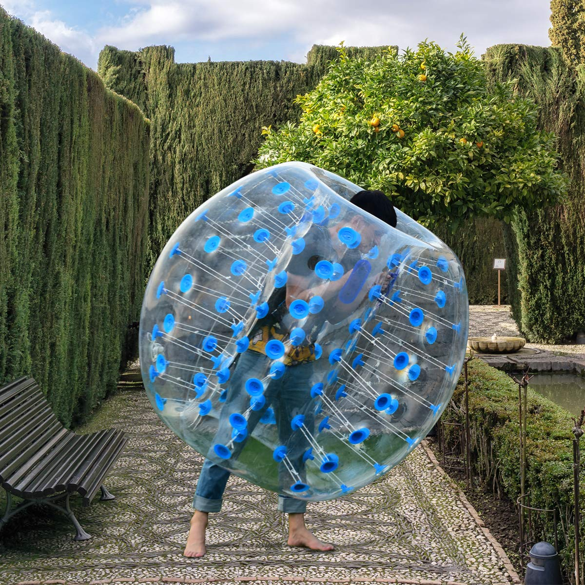 Costzon Inflatable Bumper Soccer Ball, Dia 5ft (1.5m) Giant Human Hamster Bubble Ball, 8mm Thickness Transparent PVC Zorb Ball for Kids, Teens Outdoor Team Gaming Play (Blue) by Costzon