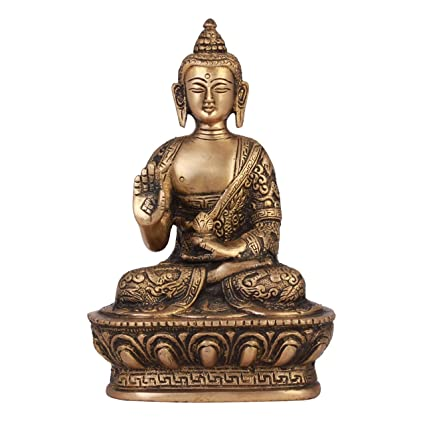 SHOP END HERE Brass Buddha Idol, 7-inch (Gold)