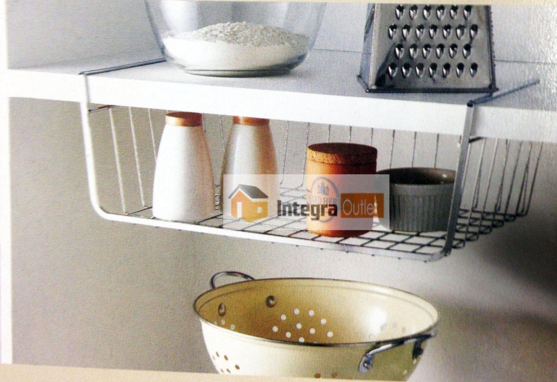 Pack of 2 Under Shelf Storage Basket Kitchen Cupboard Bathroom Organizer Chrome dydx