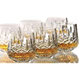 King International 100% Crystal Glass Heavy Base Round Whiskey Glasses Set of 6 | 350 ml Drinking Glasses- Ideal for Whiskey, Vodka, Tequila| Bar tools | Bar Accessories