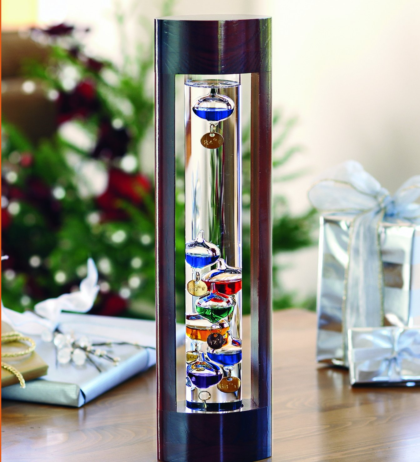 Wind & Weather Galileo Thermometer with Cherry Finish Wood Frame Wind & Weather®