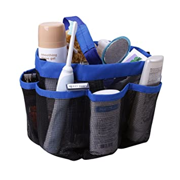 Amazon.com: Shower Caddy, Mesh, Blue, 8 Pocket, Portable, Quick Dry ...