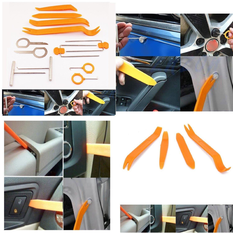 Kit 12/strumenti per auto luci interne autoradio modanature 1/pz per la rimozione elementi di fissaggio con leve per effettuare riparazioni su pannelli Yunli finestrini