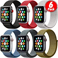 MAZTRON 6-Pack Nylon Band Compatible with Apple Watch 44mm 42mm size, Soft Light-weight Breathable Sport Loop…