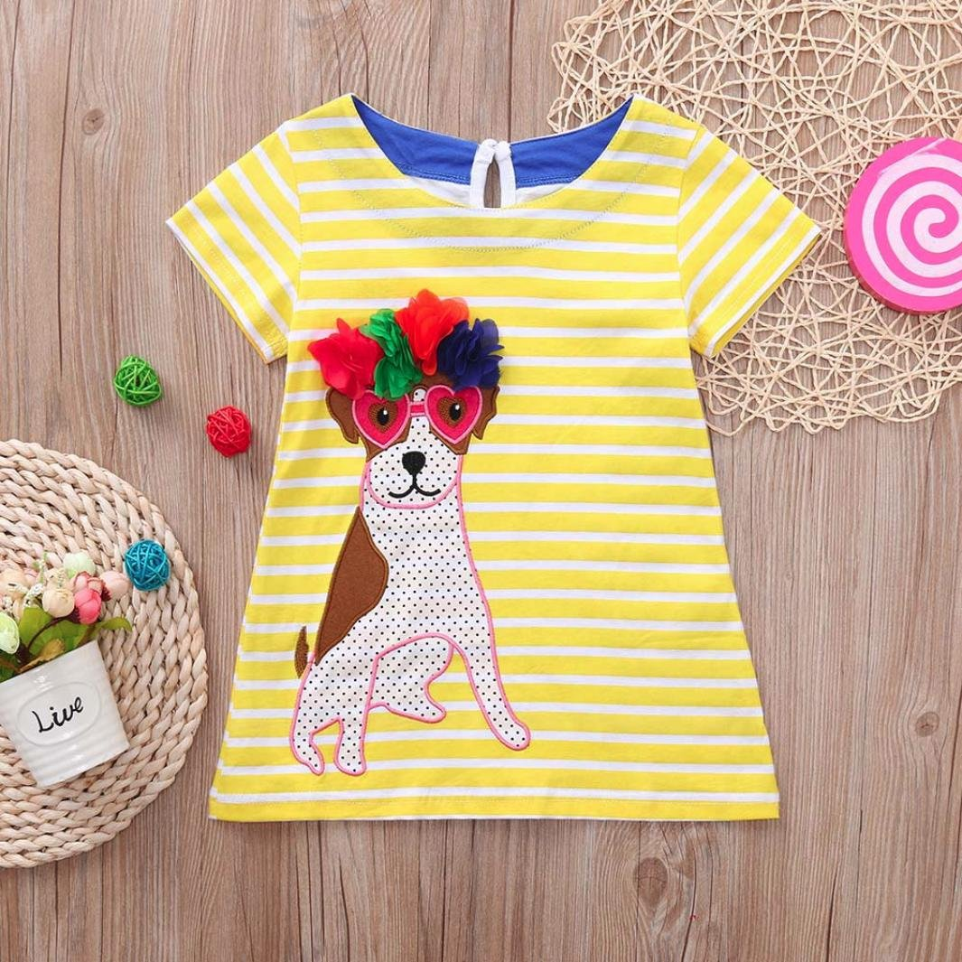 KONFA Teen Girls Solid Turtle//Dog Stripes Print Dress,Suitable for 1-6 Years Old,Little Princess One-Piece Skirt Clothes Set