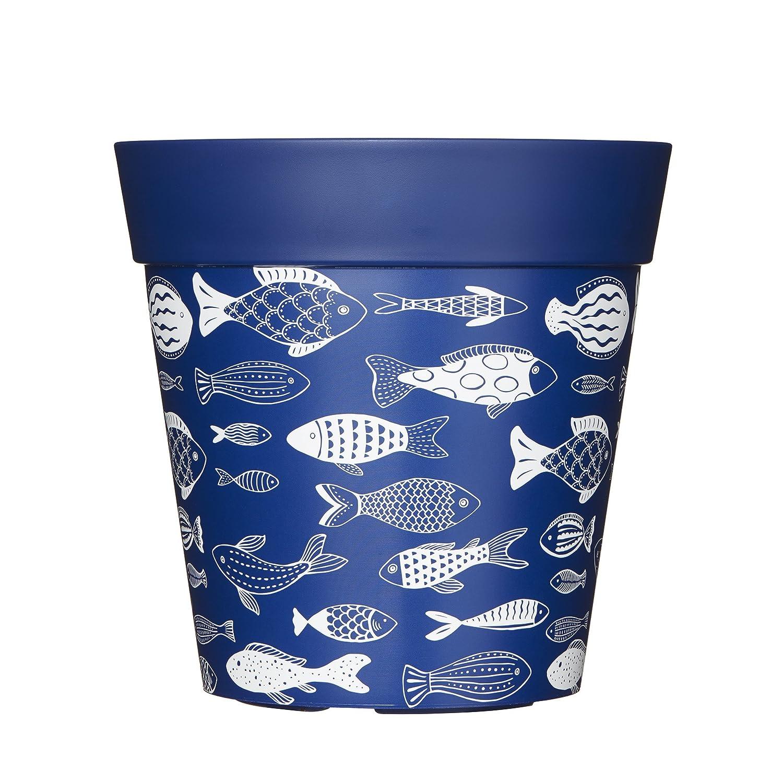 Hum Flowerpots Blue Fish Plant Pot, Indoor/Outdoor Planter