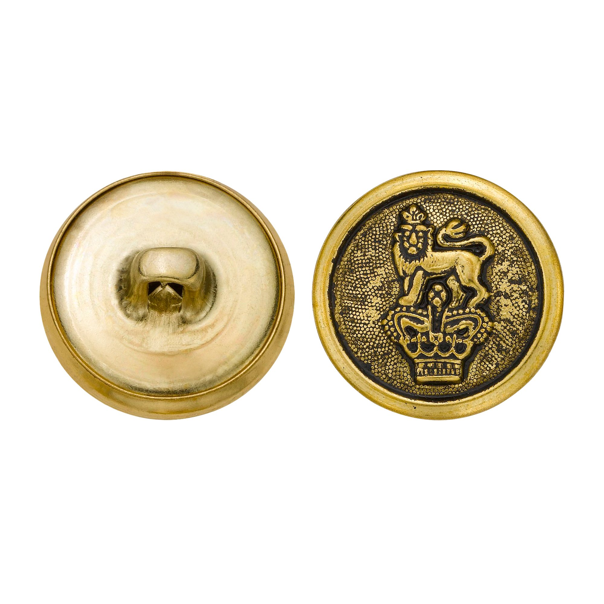 C&C Metal Products 5277 Crowned Lion Metal Button, Size 30 Ligne, Antique Gold, 36-Pack