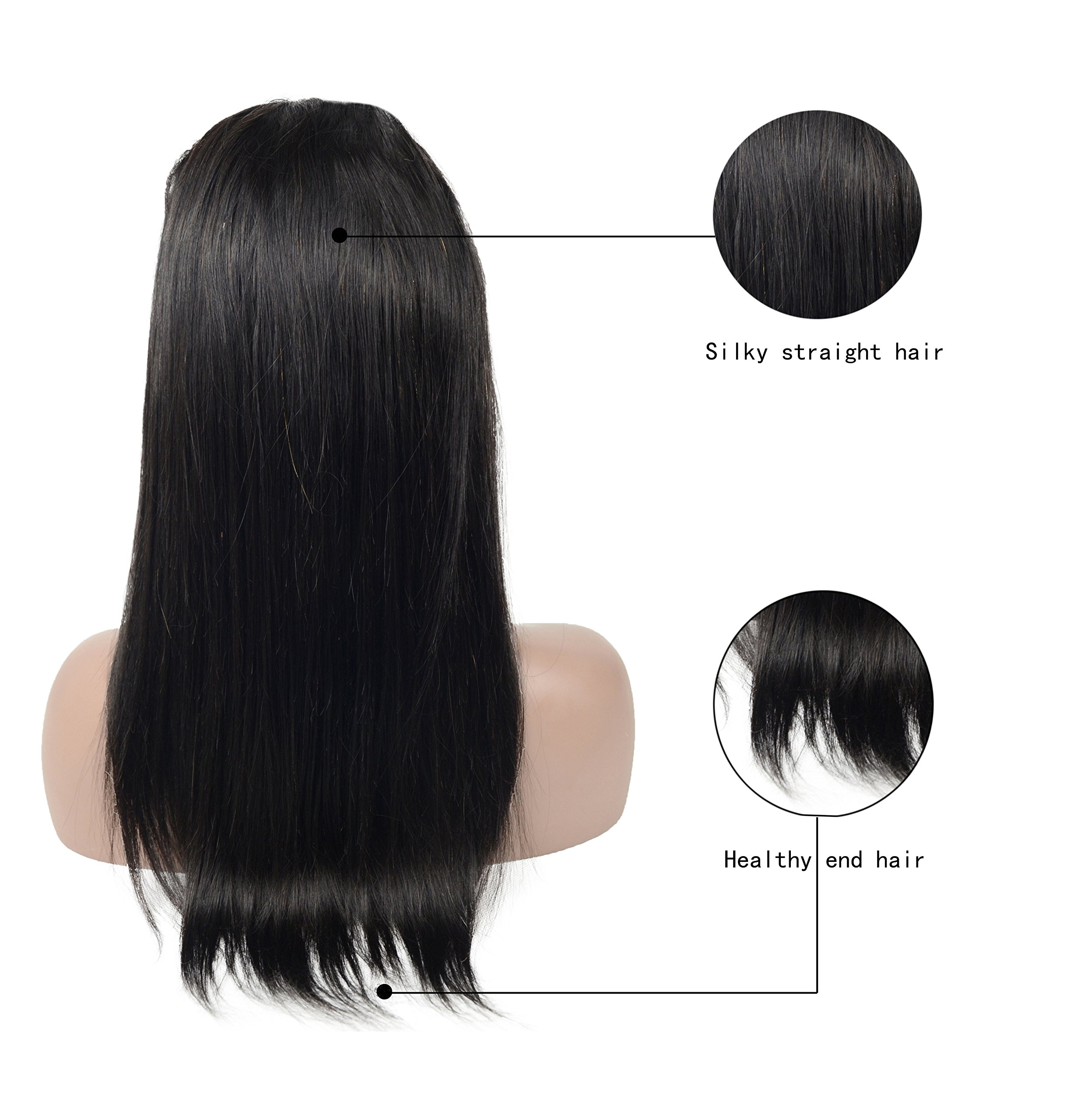Pre Plucked 360 Lace Front Wigs Human Hair Straight, Veer Brazilian Virgin Human Hair With Baby Hair for Women Natural Black Color(#1B) 16inch