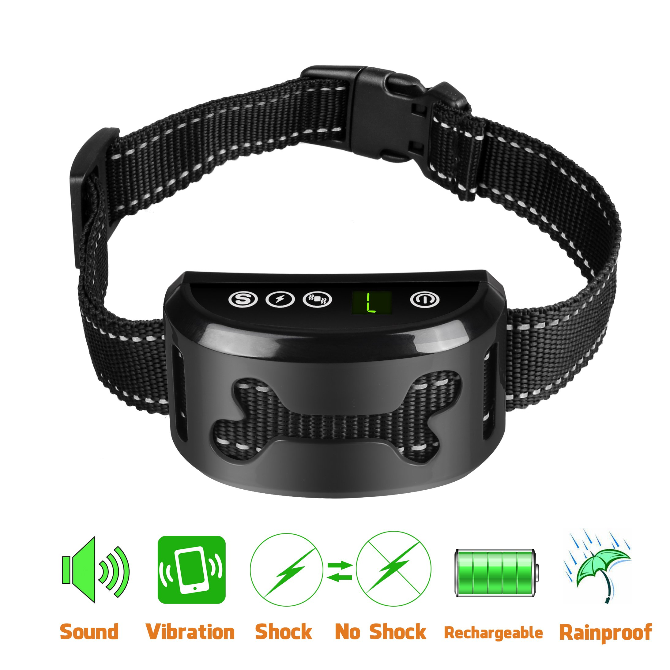 POP VIEW Bark Collar [2018 Upgrade Version] No Bark Collar Dog Small Bark Collar Shock Collar with Beep Vibration Harmless Shock Rechargeable Anti Bark Control Device for Small Medium Large Dog