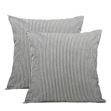 "Shamrockers Farmhouse Striped Throw Pillow Cover Decorative Cotton Linen Ticking Stripe Cushion Pillowcase (18""x18"", Black, Pack of 2)"