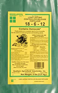 Southern Ag Long Lasting Controlled Release Fertilizer 18-6-12, Osmocote - 5 pound bag