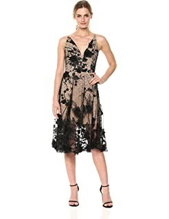 b6dfa16f89b99 Dress the Population Women's Audrey Spaghetti Strap Midi A-line 3D Floral  Dress