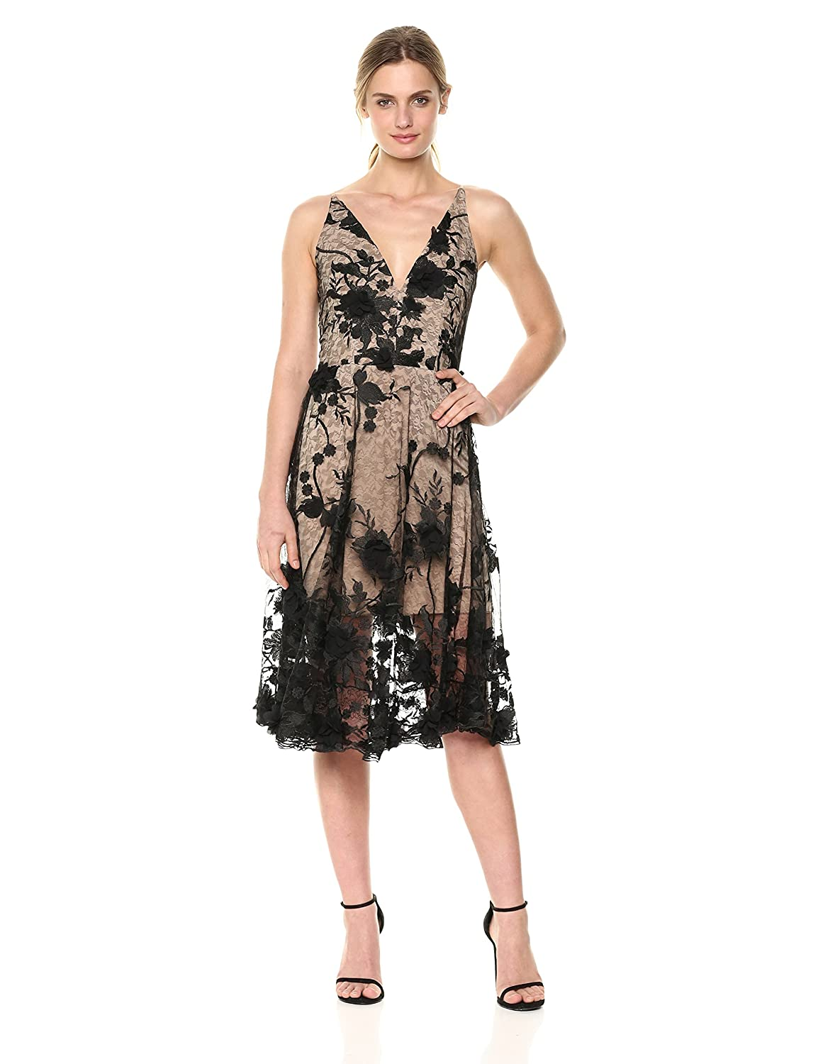 Black   Nude Dress the Population Womens Audrey Spaghetti Strap Midi Aline 3D Floral Dress Special Occasion Dress