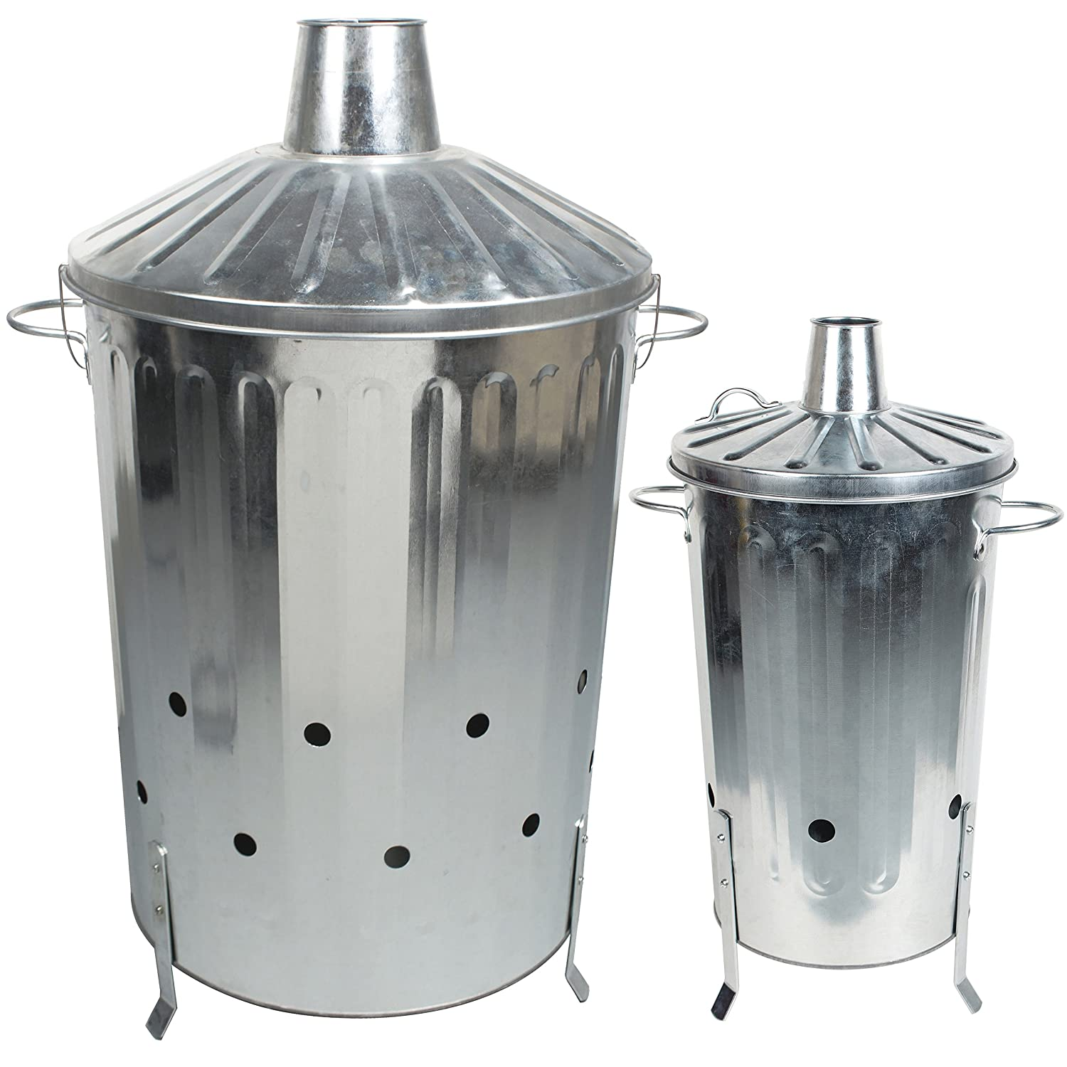 CrazyGadget 90 Litre 90L Extra Large Galvanised Metal Incinerator Fire Burning Bin with Special Locking Lid + 18L Small Incinerator Set