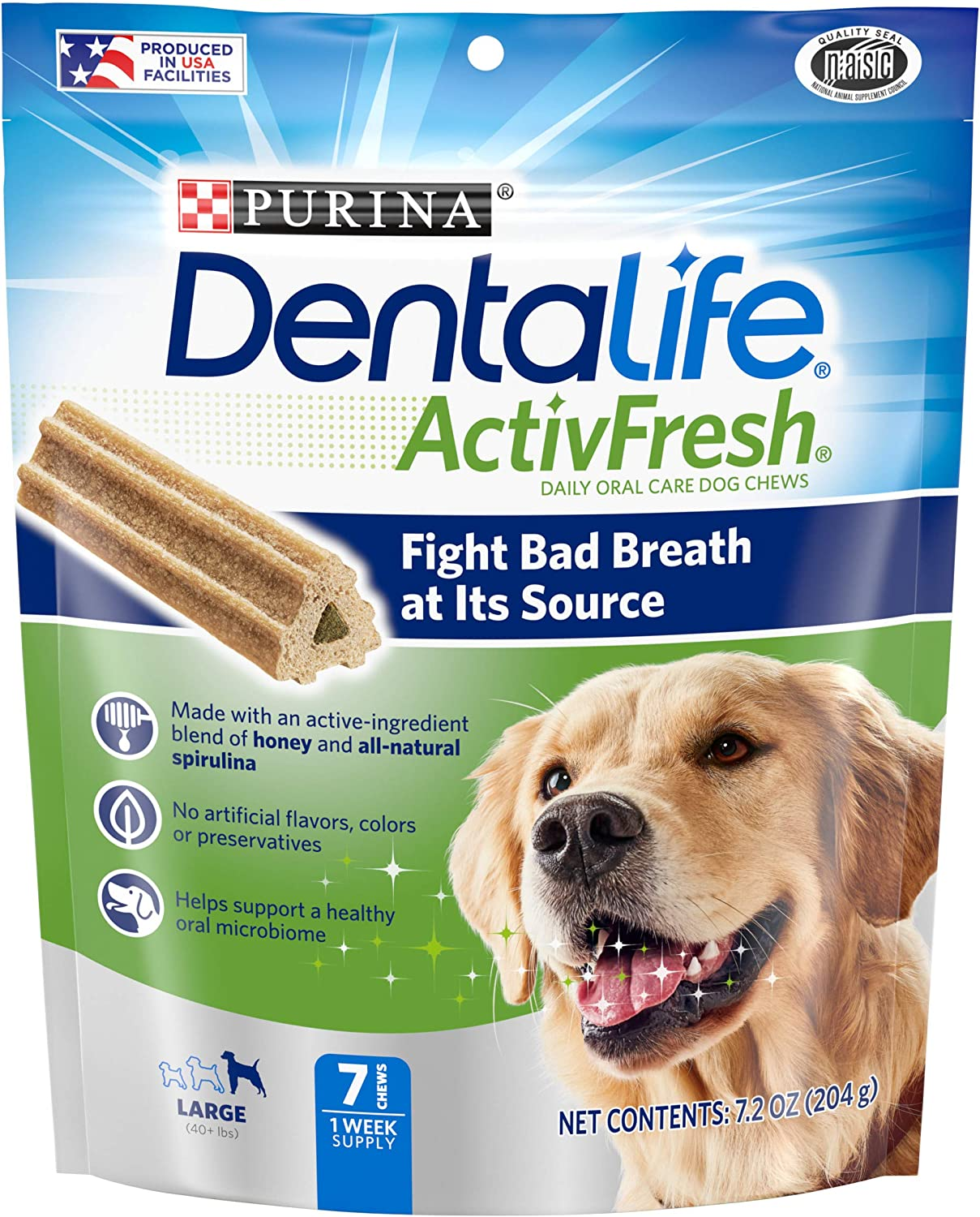 Purina DentaLife Large Breed Dog Dental Chews, ActivFresh Daily Oral Care Large Chews Pack of 5 (7 ct), DENTALIFE ACTIVFRESH Lrg Dog, 7.2 oz