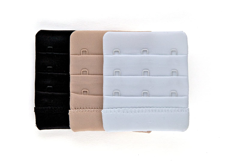 Fashion First Aid Women's Brah Extender Bra Breathing Room 3 Hook 3 Pack Beige Black Fashion First Aid Accessories BX03