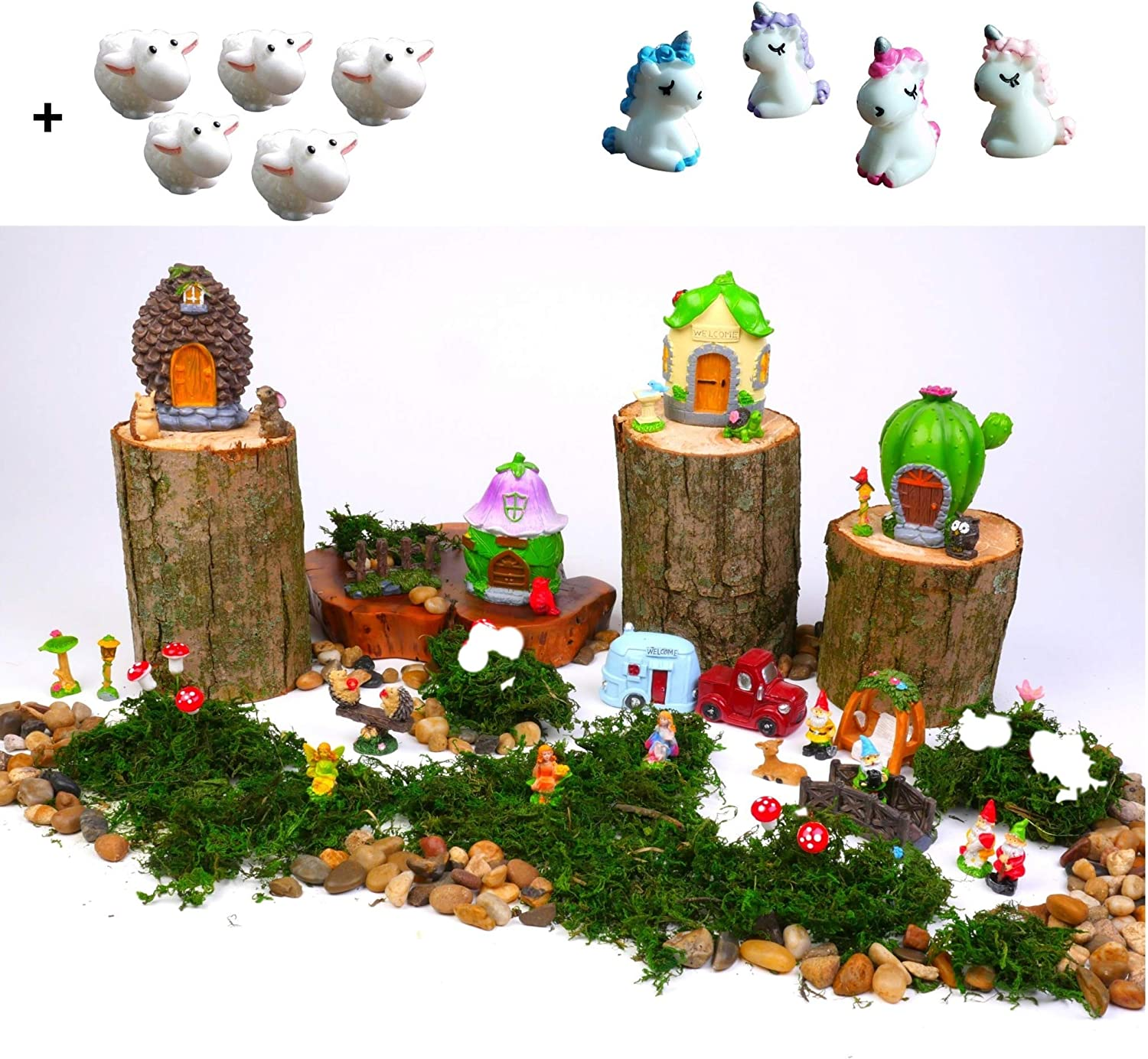 Ellie Arts Mini Fairy Garden Kit for Girls & Boys with Accessories, Decor Includes Houses, Fairies Figurines, Unicorn, Animals, Moss, All Supplies for Indoor or Outdoor. red Truck & Camper Too! 42pcs
