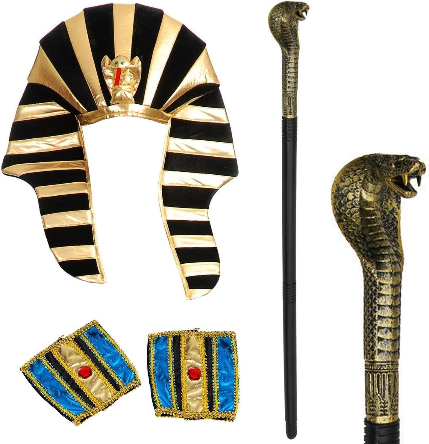Tigerdoe Egipcio Traje - 3 Pc Set - Faraón Sombrero, puños, la ...